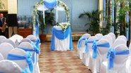 Украшение выездной регистрации свадьбы тканью и цветами