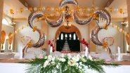 Украшение зала шарами и цветами